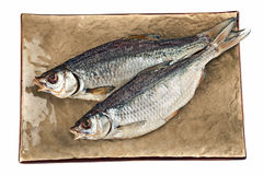 Peixes salgados secados da brema na placa marrom Imagens de Stock Royalty Free