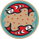 Peixes - salmões - estilo do nativo americano Fotos de Stock