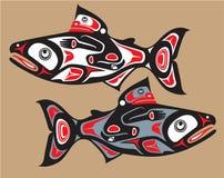 Peixes - salmões - estilo do nativo americano Fotos de Stock Royalty Free