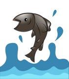 Peixes Salmon que saltam da água ilustração stock