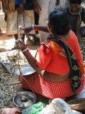 Peixes secados do aldeão sells indianos imagem de stock