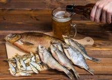 Peixes secos no fundo de madeira com cerveja Fotos de Stock Royalty Free