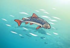 Peixes sob a água, pescando a ilustração ilustração stock