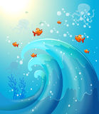 Peixes sob o mar Foto de Stock Royalty Free