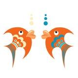 Peixes tropicais alaranjados brilhantes com ornamento azul ilustração stock