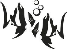 Peixes tropicais descascados com bolhas na frente de se Ilustração Stock