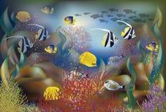Peixes tropicais do fundo subaquático, vetor ilustração do vetor