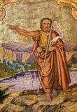 Peiznok - freskomålning av St John det baptistiskt av Augustin Barta från året 1942 - 1945 i vänkyrka Royaltyfria Bilder