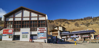 PEJO FONTI, ITALY - MARCH 10, 2017: Lower cable car station on 1 Stock Photo