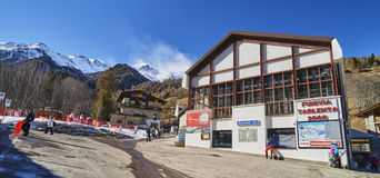 PEJO FONTI, ITALY - MARCH 10, 2017: Lower cable car station on 1 Royalty Free Stock Photos