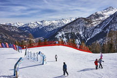 PEJO, ITALY - MARCH 8, 2017:Ski areas around Pejo on 8 March 201 Royalty Free Stock Photography