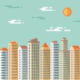 Pejzaż miejski - abstrakcjonistyczni budynki - wektorowa pojęcie ilustracja w płaskim projekta stylu Nieruchomości mieszkania ilu Zdjęcia Stock