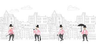 Pejzaż miejski bezszwowa granica z śmiesznymi dżentelmenami royalty ilustracja