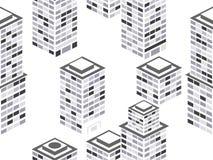 pejzaż miejski bezszwowy deseniowy Isometric miasto budynki, metropolia Czarny i biały kolory wektor ilustracja wektor