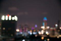 Pejzaż miejski Bokeh przy nocą Fotografia Royalty Free