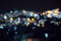 Pejzaż miejski Bokeh przy nocą Obrazy Stock