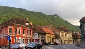Pejzaż miejski Brasov ulicy Transylvania, Rumunia zdjęcie stock