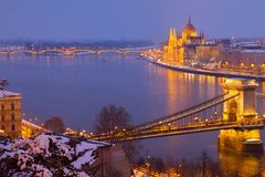 Pejzaż miejski Budapest przy nocą, Węgry Zdjęcie Stock