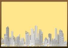 Pejzaż miejski budynek i drapacz chmur w papierze projektujemy na żółtym billboardzie Zdjęcia Stock