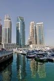 pejzaż miejski Dubai marina panoramiczny sceny zmierzch Fotografia Stock