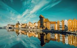 Pejzaż miejski Gdański, widok przez rzekę Zdjęcie Stock