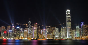 pejzaż miejski Hong kong zaświeca noc symfonię Zdjęcie Royalty Free