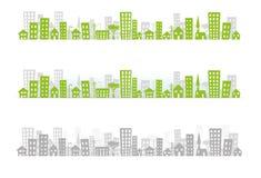 pejzaż miejski linia horyzontu x 3 ilustracja wektor