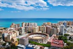 pejzaż miejski Malaga morze Zdjęcie Stock