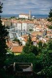 Pejzaż miejski malowniczy Słoweński miasto Piran fotografia royalty free