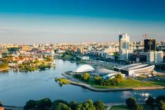 Pejzaż miejski Minsk, Białoruś Lato sezon, zmierzch Zdjęcie Royalty Free
