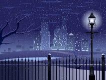 pejzaż miejski noc zima Obrazy Royalty Free