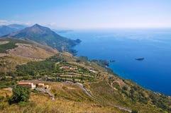 Pejzaż miejski. Panoramiczny widok Maratea. Basilicata. Włochy. obraz royalty free