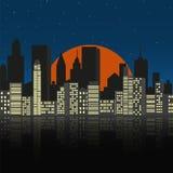 Pejzaż miejski przy nocą Zdjęcia Stock