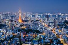 Pejzaż miejski przy nocą, Tokio, Japonia Fotografia Royalty Free