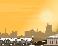 Pejzaż miejski przy zmierzchem Panorama ulica Zima również zwrócić corel ilustracji wektora ilustracji