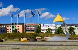 Pejzaż miejski Rakvere Główny plac Rakvere, piękny lato widok fotografia royalty free