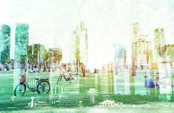 Pejzaż miejski Singapore miasto, Odizolowywający na białym tle Obraz Royalty Free
