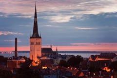Pejzaż miejski stary Tallinn przy nocą, St Olaf Oleviste kirik Kościelna iglica, Estonia obrazy stock