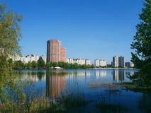 Pejzaż miejski w mieście Kijów, lato 2017 Zdjęcia Stock