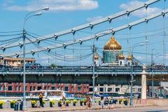 Pejzaż miejski z złotą kopułą katedra Chrystus wybawiciel Obrazy Royalty Free