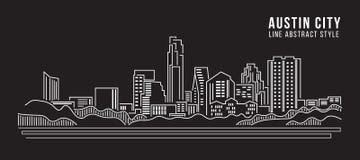 Pejzażu miejskiego budynku Kreskowej sztuki Wektorowy Ilustracyjny projekt - Austin miasto ilustracji
