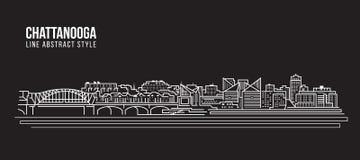 Pejzażu miejskiego budynku Kreskowej sztuki Wektorowy Ilustracyjny projekt - Chattanooga miasto ilustracja wektor