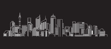 Pejzażu miejskiego budynku Kreskowej sztuki Wektorowy Ilustracyjny projekt (Sydney) Fotografia Royalty Free