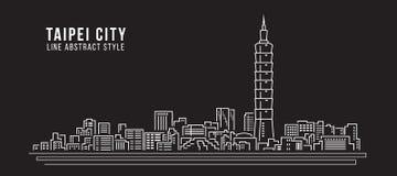 Pejzażu miejskiego budynku Kreskowej sztuki Wektorowy Ilustracyjny projekt - Taipei miasto ilustracja wektor