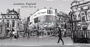 Pejzażu miejskiego rysunku nakreślenie w Londyńskim Anglia, przedstawienie spaceru ulica przy Fotografia Royalty Free