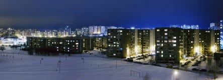 Pejzażu miejskiego sowieci - zrzeszeniowy czas w nighttime przy zima sezonem obraz stock