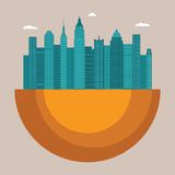 Pejzażu miejskiego wektorowy ilustracyjny pojęcie z budynkami biurowymi i drapaczami chmur Zdjęcie Stock