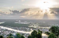 Pejzażu miejskiego widok Chumphon ujście, Tajlandia Zdjęcia Royalty Free