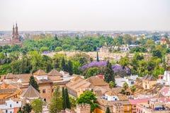 Pejzażu miejskiego widok Seville z wierzchu Giralda Hiszpania obrazy royalty free