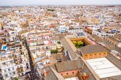 Pejzażu miejskiego widok Seville z wierzchu Giralda Hiszpania fotografia stock